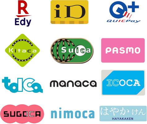 交通系IC、楽天Edy、iD、QUICPAY